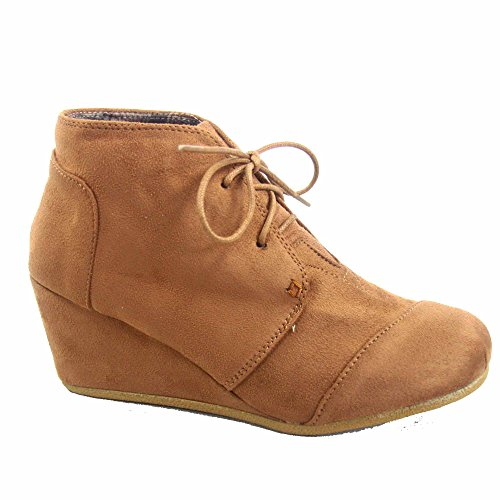 Voor Altijd Link Patricia-1 Dames Casual Oxford Enkellaarsjes Lace Up Lage Wedge Schoenen Tan