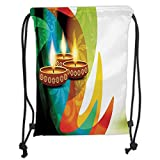 Custom Printed Drawstring Sack Backpacks Bags,Diwali Decor,Modern Rainbow Colored Detailed Paisley Decor with Festive Candle Art Print,Multicolor Soft Satin,5 Liter Capacity,Adjustable String Closure,