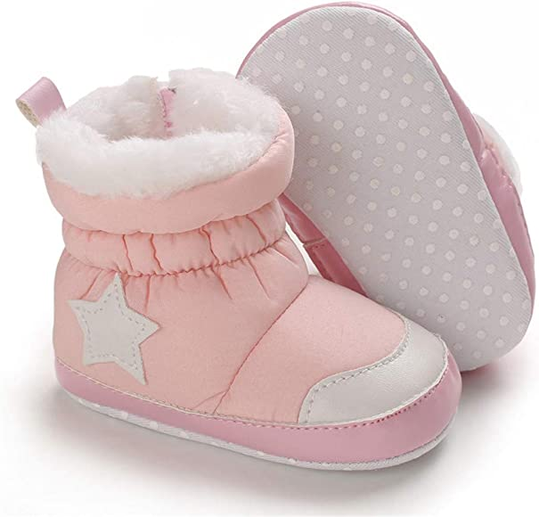 Soft Sole Pulsh Fur First Walker Winter Shoes Toddler Snow Boots Baby Boys Girls Warm Crib Shoes 0-18 Months