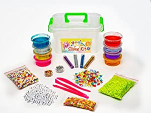 DIY Slime Kit for Girls and Boys- Perfect Bundle with Supplies and Containers with Lids! 12 Colors Crystal Slime, Glitter, Fruit Slices, Foam and Fishbowl Beads and More.