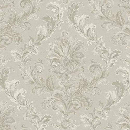- York Wallcoverings PL4644 Hyde Park Painterly Damask Wallpaper, Silver Sheen/Cream/Pewter/Taupe