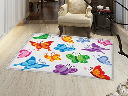 Butterfly Door Mat indoors Colorful Butterfly Collection Print Cute Ornate Winged Animal Love Graphic Print Customize Bath Mat with Non Slip Backing Multicolor (Winged Graphic)