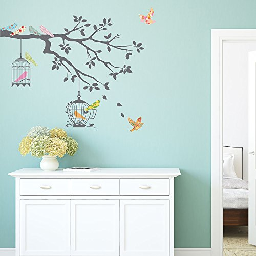 Wall Art Cage (Decowall DW-1510 Birds on Tree Branch with Bird Cages Kids Wall Stickers Wall Decals Peel and Stick Removable Wall Stickers for Kids Nursery Bedroom Living Room (Grey))