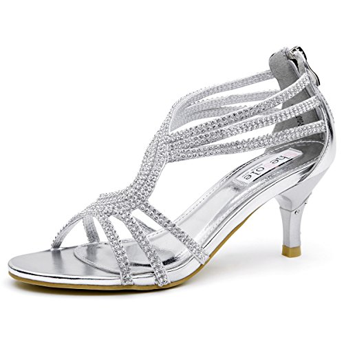 SheSole Womens Metallic Low Heels Sandals Rhinestones Evening Bridal Party Dance Shoes Silver US 8