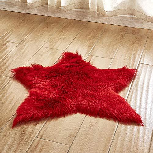 vmree Super Soft Wool-Like Faux Fur Area Rug Fluffy Antiskid Star Shaped Foot Carpet Mat Baby Nursery Playmat Elegant Living Room Bedroom Hallway Home Office Decor (Red, 2×2 Ft.) ()