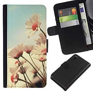 KLONGSHOP // Tirón de la caja Cartera de cuero con ranuras para tarjetas - Campo Flor Vintage Vignette verano - Sony Xperia Z3 D6603 //