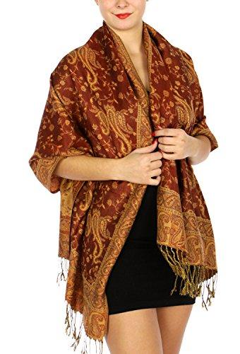 Pashmina Scarf for women large cashmerefeel reversible shawl wraps - Paisley wedding scarf (Reversible Paisley Pashmina Shawl)