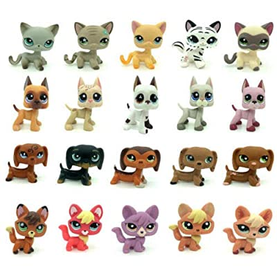 4pcs Random 2inch Littlest Pet Shop LPS Figure Dog Cat Animals Different Figure: Toys & Games