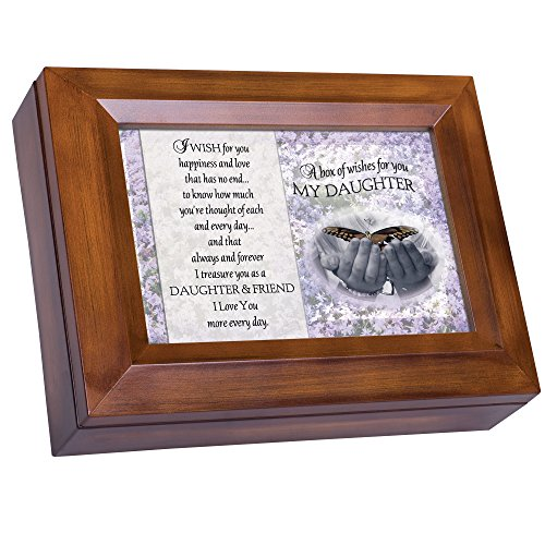 Cottage Garden Box of Wishes for You Daughter Woodgrain Digital Keepsake Music Box Plays My Wish