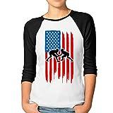 Mkajkkok American Flag Wrestling Women's Casual 3/4 Long Sleeves