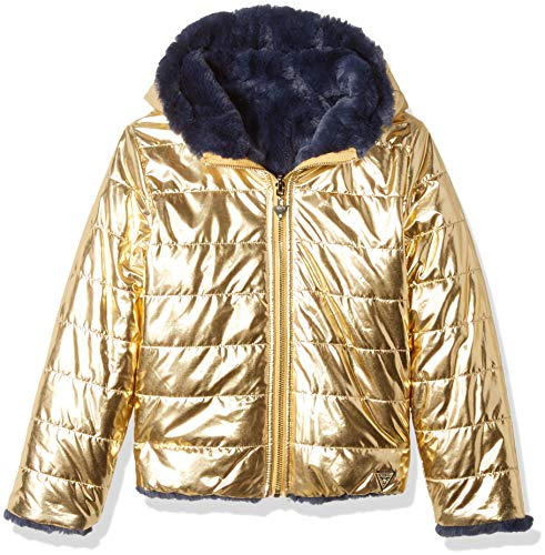 - GUESS Girls' Big Faux Fur Hooded Puffer Jacket, Shiny Gold, 7