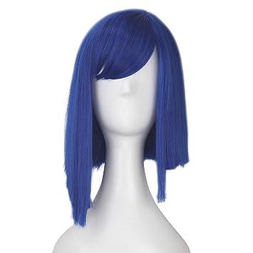 Amazon.com: iCos - Peluca de cosplay unisex de color azul y ...