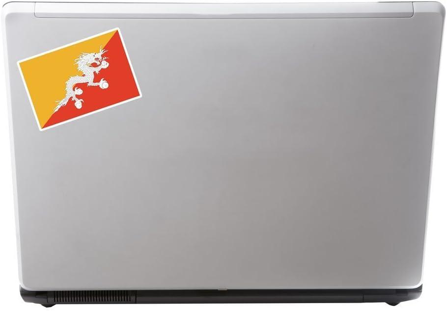 2 x Bhutan Flag Vinyl Sticker Laptop Travel Luggage #4419