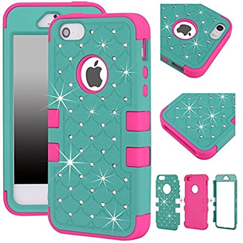 Majesticase® iPhone 5/5S Case - 3 Layers Diamante Bling Crystals Full Body Hybrid Armor Protection Cover + FREE Stylus in Teal/Hot (I Phone 5s Case In Pink)
