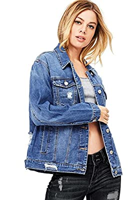 Wax Women's Oversize Fit Boyfriend Jean Jacket