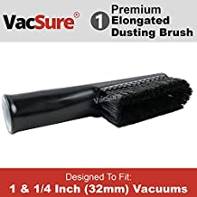 Elongated Long Soft Bristle Dusting Brush Vacuum Attachment, Fit All Standard 1 & 1/4 inch Diameter Vacuum Cleaners, By VacSure