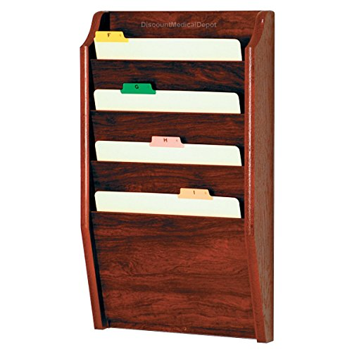 - DMD File Holder, Wall Mount Patient Chart Rack, 4 Pocket Wooden Letter Size, Mahogany