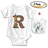 POOPEDD Letter For R Unisex Baby Short Sleeve Onesies Infant Bodysuit Baby Onesie Infant Bibs