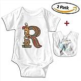 POOPEDD Letter For R Unisex Baby Short Sleeve Onesies Infant Bodysuit Baby Onesie Infant Bibs