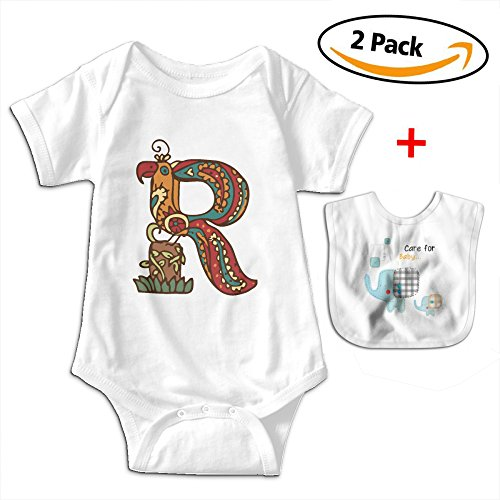 POOPEDD Letter For R Unisex Baby Short Sleeve Onesies Infant Bodysuit Baby Onesie Infant Bibs by POOPEDD