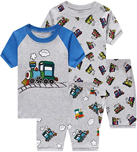 shelry Children Pajamas for Boys Baby Train Clothes Summer Toddler 4 Pieces Short Pj Set 2t -