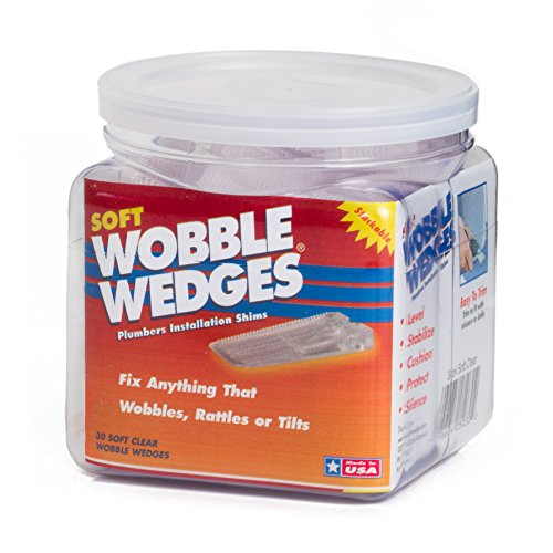 Wobble Wedges - Soft Clear - Furniture and Plumbing Fixture Installation Shims - 30 Piece Jar (Toilet Shims Plastic)