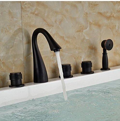 GOWE Brass ORB Waterfall Bathtub Sink Faucet Three Handles Mixer Tap Deck Mount with Handshower Sprayer 1