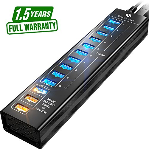 SmartDelux Powered USB Hub - 13-Port USB 3.0 Hub with 10 USB 3.0 Ports, 3 Smart Charging Ports, Power Adapter, Long Cord, LEDs - Black Aluminum