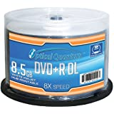 Vinpower Digital - JVC OQDPRDL08WIP-H Optical Quantum 8 X 8.5GB DVD+R DL White Inkjet Printable Double Layer Recordable Blank Media , 50-Disc Spindle