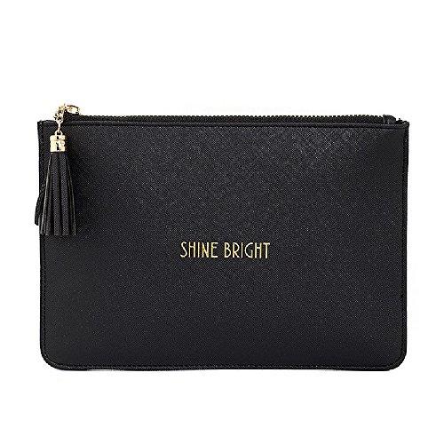 Shine Bright Black Clutch Bag