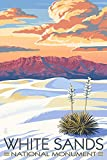 White Sands National Monument, New Mexico - Sunset Scene (9x12 Art Print, Wall Decor Travel Poster)
