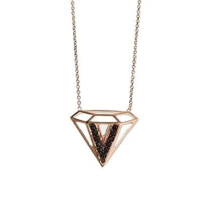 9998593085c75 Amazon.com: Diamond Shape Necklace/Silver Necklace/ Black Cubic ...
