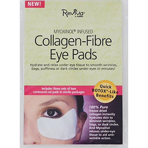 Reviva Labs Collagen Fiber Contoured Eye Pads - 3 Sets of 2 Contoured Cut Pads in Sterile Packages Collagen Fibre Eye Pads