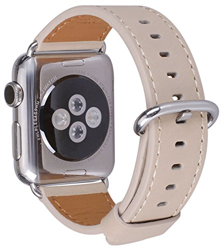 JSGJMY Apple Watch Band 38mm Women Ivory Vintage Genuine Leather Loop Replacement Wrist Iwatch Strap with Stainless Steel Metal Clasp for Apple Watch Series 3 Series 2 Series 1 Sport and Edition