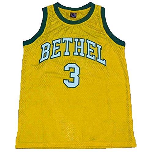 NO.3 Bethel High School Allen Iverson high school green / yellow flag sewn throwback basketball jersey yellow XXL