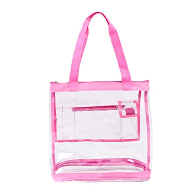 503395c6f368 Clear Tote Bag with Zipper Top Closure and Pockets for Women Heavy Duty for  Work