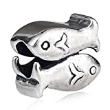 Ollia Jewelry Antique 925 Sterling Silver Beads Two Fishes Pisces Charm Chinese Style Lucky Emblem Auspicious Propitious Pattern Charms