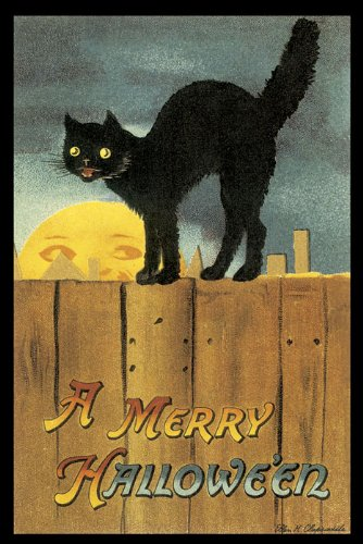 A MERRY HALLOWEEN SCARED BLACK CAT ON A FENCE FULL MOON VINTAGE POSTER REPRO