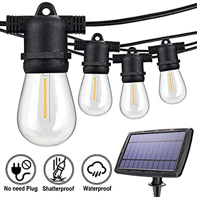 Solar LED Outdoor String Lights, 48FT Waterproof 15 Hanging Sockets, S14 Shatterproof Plastic Edison Bulbs, Create Ambiance for Backyard Party Decoration, Cafe, Garden, Patio, Bistro-Soft Warm White