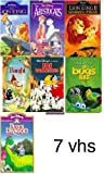 walt disney's pack 7 vhs: the lion king, The Aristocats (A Walt Disney Masterpiece), The Lion King II: Simba's Pride, Bambi, 101 Dalmatians (Walt Disney's Classic), A Bug's Life, Pete's Dragon