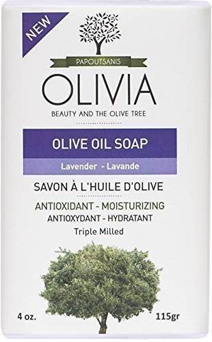 Olivia Olive Beauty: Olivia Olive Oil Face & Body Bar Soap with Lavender Extract, 100% Pure Olive Oil, from Greece, 4/4 oz (Olive Oil Salt Face)