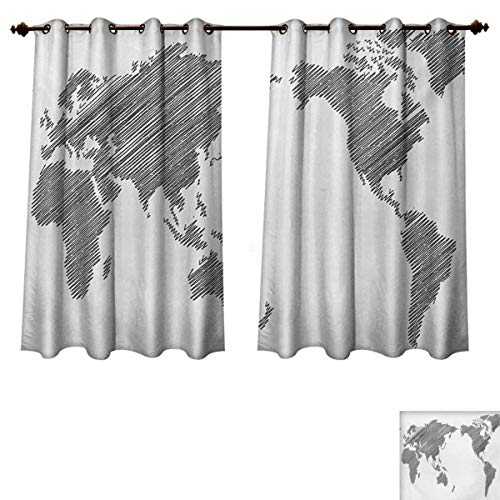 RuppertTextile World Map Blackout Thermal Curtain Panel Sketchy Striped Continents Cartography Geography Countries Worldwide Art Patterned Drape for Glass Door Charcoal Grey White W63 x L45 inch