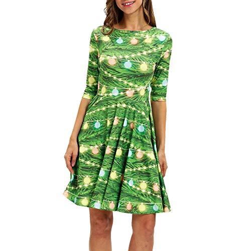 COPPEN Women Dresses O Neck Snowflake Half Sleeve Mini Dress Christmas Long