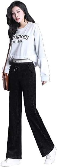 Nicellyer Women Corduroy High Waisted Comfort Fit Wide Leg Fall Winter Velvet Pants