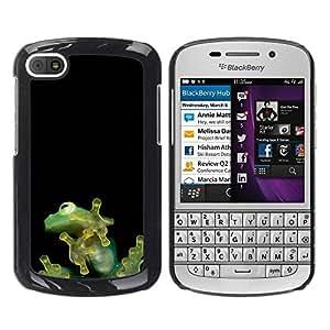 Caucho caso de Shell duro de la cubierta de accesorios de protección BY RAYDREAMMM - BlackBerry Q10 - Cute Tiny Jungle Frog