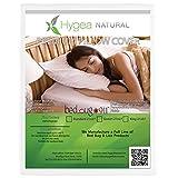 Hygea Natural Standard Bed Bug Pillow Cover | Water Resistant Pillow Protector - Dust Mite & Lice & Allergen Proof Pillow Encasement, taie d'oreiller | Size Queen