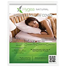 Luxurious Bed Bug Pillow Cover | 100% Waterproof Pillow Protector - Dust Mite & Lice & Allergen Proof Pillow Encasement | Queen Size- Hygea Natural