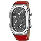 Philip Stein Signature Mens Swiss Made Dual Time Zone Quartz Chronograph Watch - Natural Frequency Technology Provides More Energy and Better Sleep - Grey Face with Luminous Hands Red Leather Band