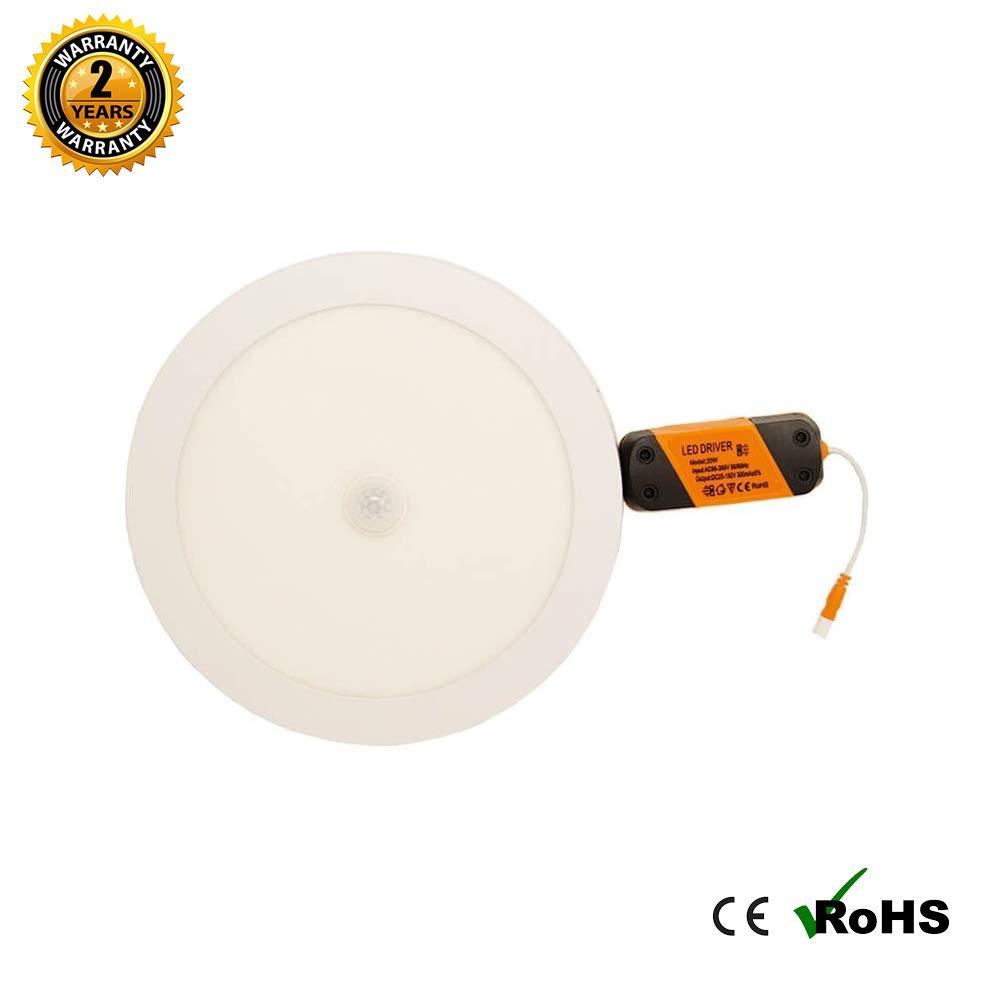 Plaf/ón LED Superficie circular 20W con Detector de Movimiento Blanco Frio K6000