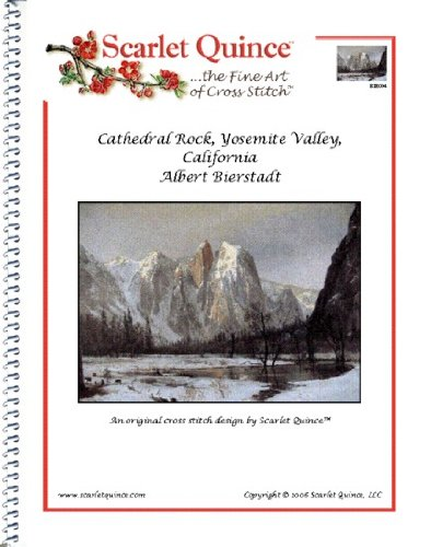 Valley Rock (Scarlet Quince BIE004 Cathedral Rock, Yosemite Valley, California by Albert Bierstadt Counted Cross Stitch Chart, Regular Size Symbols)